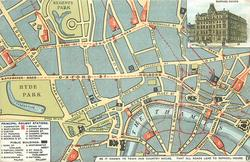 RAPHAEL HOUSE, BE IT KNOWN TO TOWN AND COUNTRY MOUSE, THAT ALL ROADS LEAD TO RAPHAEL HOUSE  map of London with routes marked