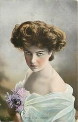 MISS ETHEL OLIVER  head & shoulders study, off shoulder dress with purple aster corsage, faces left, looks forward