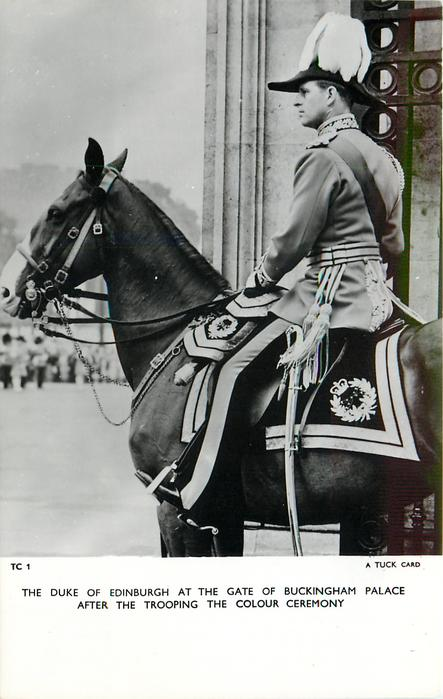 THE DUKE OF EDINBURGH AT THE GATE OF BUCKINGHAM PALACE AFTER THE TROOPING THE COLOUR CEREMONY