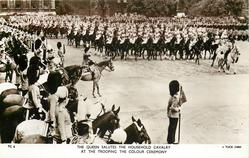 THE QUEEN SALUTES THE HOUSEHOLD CAVALRY AT THE TROOPING THE COLOUR CEREMONY