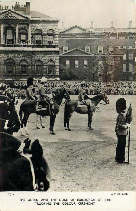 THE QUEEN AND THE DUKE OF EDINBURGH AT THE TROOPING THE COLOUR CEREMONY