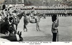 THE QUEEN TAKES THE SALUTE AT THE TROOPING THE COLOUR CEREMONY