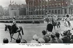 THE QUEEN REVIEWS HER GUARDS AT THE TROOPING THE COLOUR CEREMONY