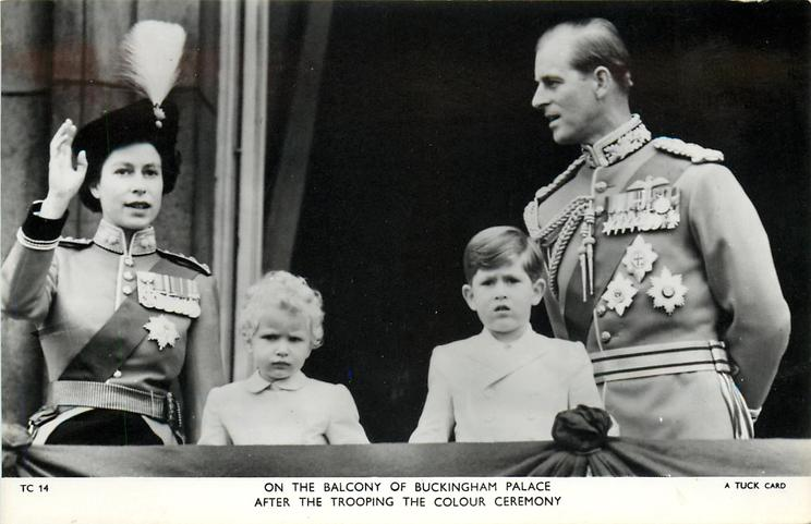 ON THE BALCONY OF BUCKINGHAM PALACE AFTER THE TROOPING THE COLOUR CEREMONY