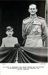 THE DUKE OF EDINBURGH AND PRINCE CHARLES ON THE BALCONY OF BUCKINGHAM PALACE AFTER THE TROOPING THE COLOUR CEREMONY