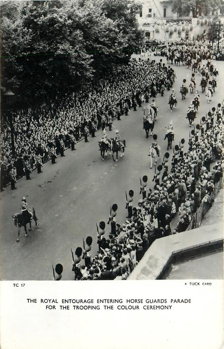 THE ROYAL ENTOURAGE ENTERING HORSE GUARDS PARADE FOR THE TROOPING THE COLOUR CEREMONY