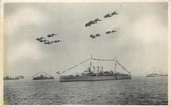 AIRCRAFT OF THE FLEET AIR ARM FLYING OVER THE ASSEMBLED SHIPS  2 types