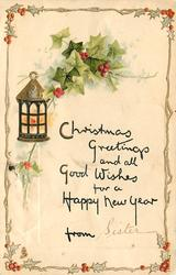 CHRISTMAS GREETINGS AND ALL GOOD WISHES FOR A HAPPY NEW YEAR