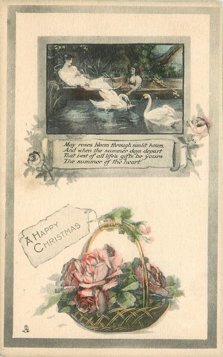 A HAPPY CHRISTMAS woman in boat with swans