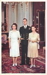 Prince Philip standing, smiling between Princess Elizabeth with hands at side and Princess Margaret