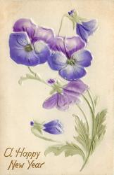 three purple pansies & two buds, green stem & leaves