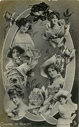 Q, QUEENS OF BEAUTY, six actresses, PAULINE CHASE, ZENA DARE, GABRIELLE RAY, GERTIE MILLAR, NINA SEVENING, MARIE STUDHOLME