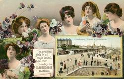 THE PRETTIEST GIRLS IN ALL THESE LANDS ARE MET TO-DAY ON CLEETHORPES, SANDS  inset CLEETHORPES, SANDS & PROMENADE