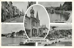 5 insets  FORE STREET/KINGSBRIDGE FROM THE PROMENADE/ TOWN HALL AND CHURCH/KINGSBRIDGE ESTUARY/THE NEW BRIDGE