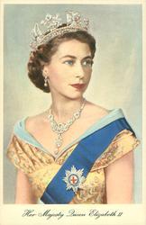 HER MAJESTY QUEEN ELIZABETH II  half-length portrait