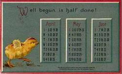 APRIL, MAY, JUNE chick walks right