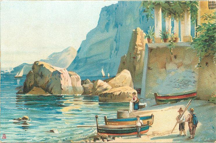 boats on sandy beach, rocks, cliffs and wall behind, two men, woman & boy on beach