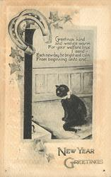 CHRISTMAS GREETINGS  (black cat, horseshoe)