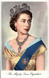 HER MAJESTY QUEEN ELIZABETH II  faces front, looks right