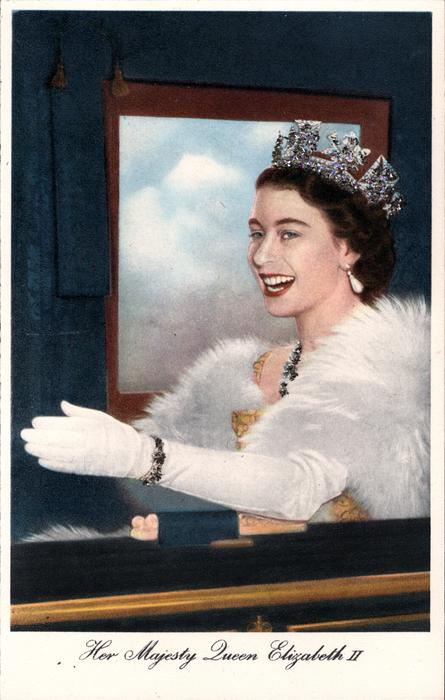 HER MAJESTY QUEEN ELIZABETH II  faces, looks left, left hand extended