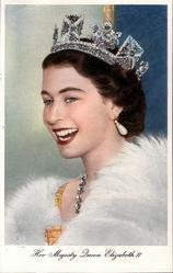 HER MAJESTY QUEEN ELIZABETH II  looks, faces left, no hand visible
