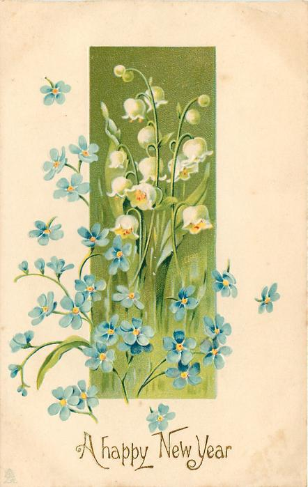 A HAPPY NEW YEAR lilies-of-the-valley and forget-me-nots