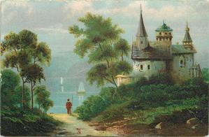 turretted house on lakeshore, trees on either side of man looking out to the clear blue water and sky