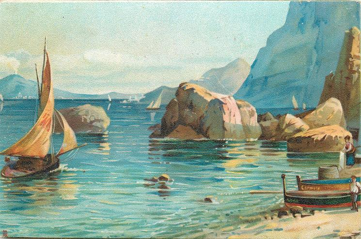 boats on sandy beach, a sail boat is leaving in blue water, large rocks and cliffs behind