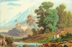 distant castle left center, two woman lower right, one with parasol, mountains in far background