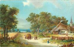 thatched buildings to right, people & haycart on central road, trees in front of wheatfield to left