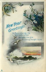 NEW YEAR GREETINGS birds, waves