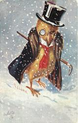 chick with red tie, monacle, winter coat & top hat faces front in snow storm