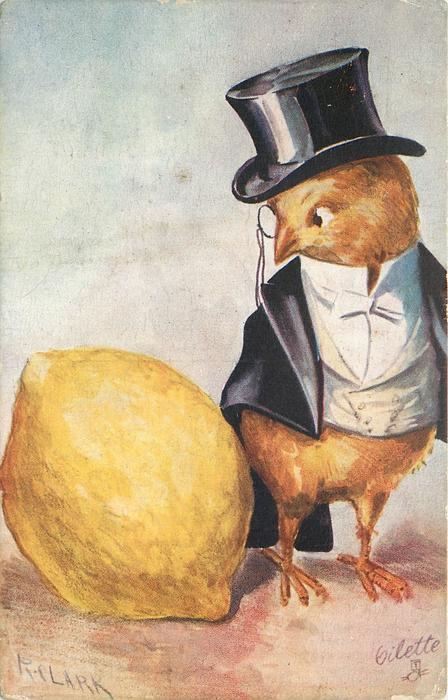 chick in formal evening dress & top hat looks down at large lemon