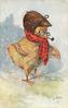 chick with red scarf, glasses & pipe faces right