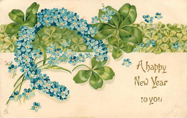 A HAPPY NEW YEAR TO YOU  horseshoe of blue flowers left, green band of clover across