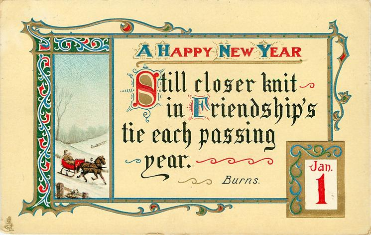 A HAPPY NEW YEAR inset right with horse-drawn carriage