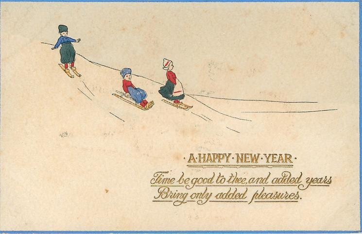 A HAPPY NEW YEAR one child sleds, two ski