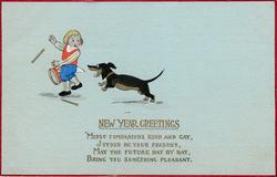 NEW YEAR GREETINGS girl with drums chased by dog