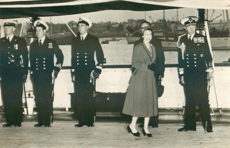 """untitled but THE QUEEN ON BOARD THE ROYAL YACHT """"SURPRISE"""" is on SNR 8"""