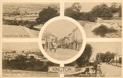 5 insets  KINGTON FROM BELOW GOLF HOUSE/RIVER ARROW/HIGH STREET, KINGTON/KINGTON FROM PENRHOS/APPROACHING KINGTON FROM THE EAST