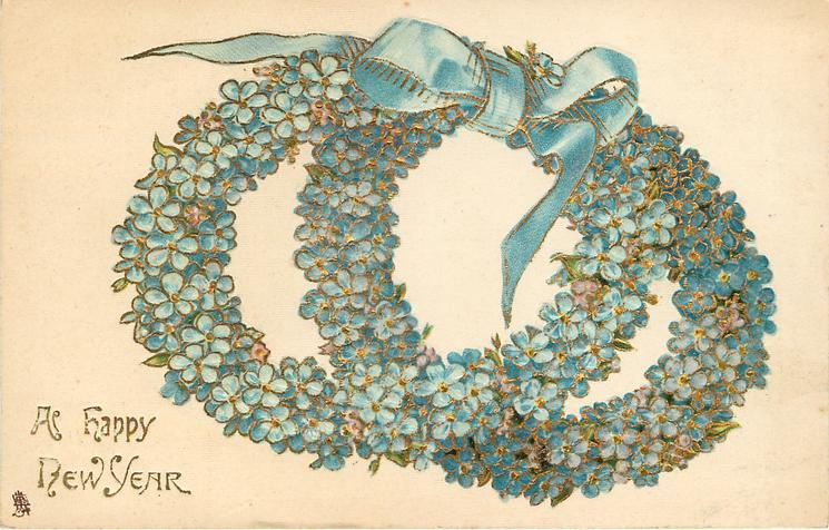 A HAPPY NEW YEAR two blue wreaths