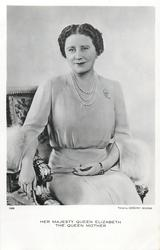 HER MAJESTY QUEEN ELIZABETH, THE QUEEN MOTHER  seated, looking front