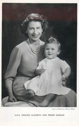 H.R.H. PRINCESS ELIZABETH AND PRINCE CHARLES  he sits on her lap