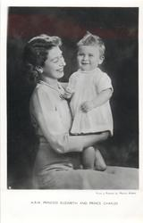 H.R.H. PRINCESS ELIZABETH AND PRINCE CHARLES  he stands on her lap