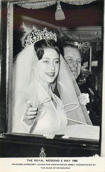 PRINCESS MARGARET LEAVES FOR WESTMINSTER ABBEY ACCOMPANIED BY THE DUKE OF EDINBURGH