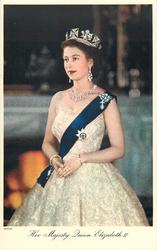 HER MAJESTY QUEEN ELIZABETH II  turned to face slightly left, three quarter study
