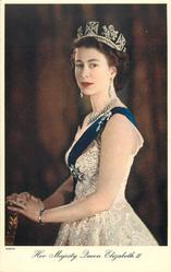 HER MAJESTY QUEEN ELIZABETH II  turned to face left, looking front, two-thirds study