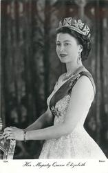 HER MAJESTY QUEEN ELIZABETH  small smile, facing left, looking front