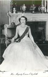 HER MAJESTY QUEEN ELIZABETH  seated pose