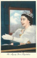 HER MAJESTY QUEEN ELIZABETH II  close-up in coach